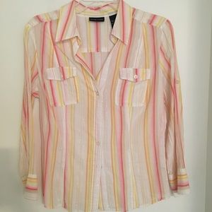 New York & Company multi-color striped button-down